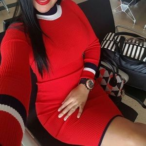 Red ribbed bodycon